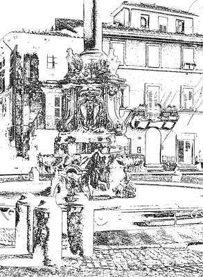Tarquinia Scorcio Piazza Con Fontana Foto Grafica Disegno  Art Print