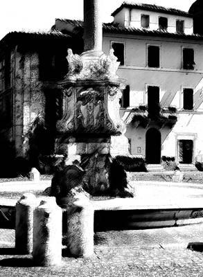 Tarquinia Scorcio Piazza Con Fontana Foto Grafica Inchiostro Art Print