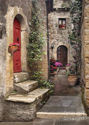 Digital Art - Tarquinian Red Door by Sharon Foster