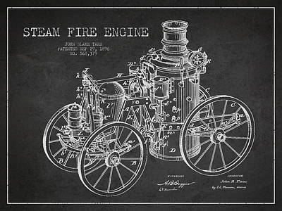 Tarr Steam Fire Engine Patent Drawing From 1896 - Dark Art Print by Aged Pixel
