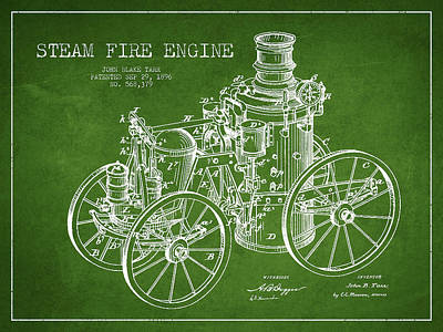 Tarr Steam Fire Engine Patent Drawing From 1896 - Green Art Print by Aged Pixel
