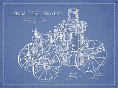 Tarr Steam Fire Engine Patent Drawing From 1896 - Light Blue Art Print by Aged Pixel