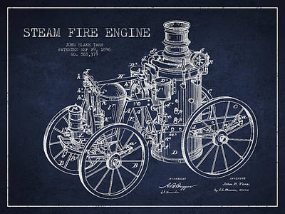 Tarr Steam Fire Engine Patent Drawing From 1896 - Navy Blue Art Print by Aged Pixel