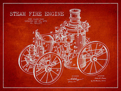 Tarr Steam Fire Engine Patent Drawing From 1896 - Red Art Print by Aged Pixel