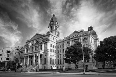 Worth Photograph - Tarrant County Courthouse Bw by Joan Carroll