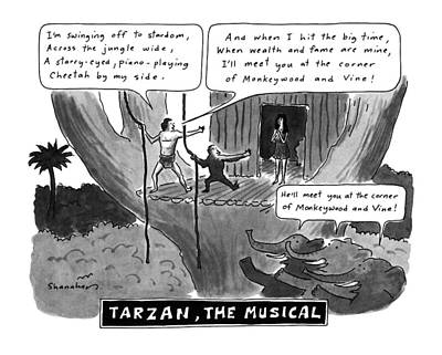 Elephants Drawing - Tarzan The Musical by Danny Shanahan