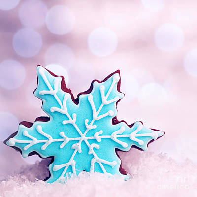 Photograph - Tasty Snowflake Shaped Cookie by Anna Om