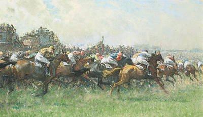Turf Painting - Tattenham Corner The Epsom Derby by Gilbert Holiday