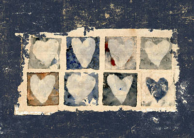 Indigo Photograph - Tattered Hearts by Carol Leigh
