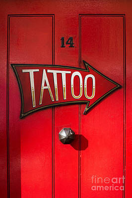 Red Door Photograph - Tattoo Door by Tim Gainey