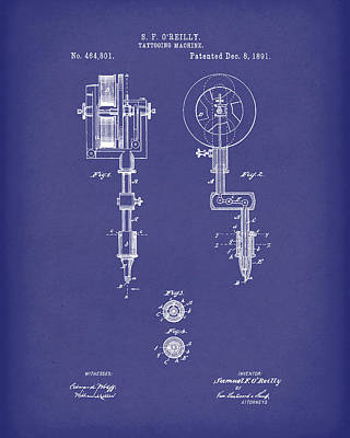 Drawing - Tattoo Machine 1891 Patent Art Blue by Prior Art Design