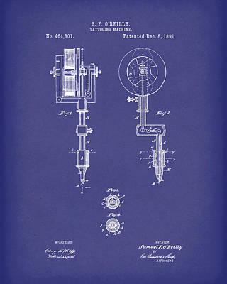 Drawing - Tattoo Machine 1891 Patent Art Blue by Prior Art Design