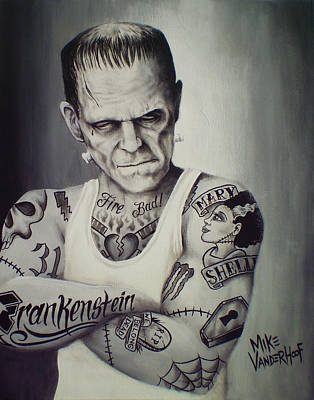 Tattooed Frankenstein By Mike Vanderhoof Art Print