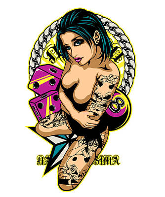 Lowrider Digital Art - Tattooed Game Pin-up Girl by Fatline