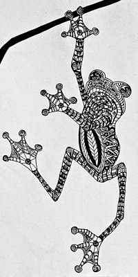 Drawing - Tattooed Tree Frog - Zentangle by Jani Freimann