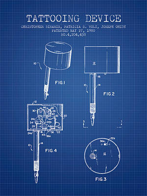 Tattooing Device Patent From 1980 - Blueprint Print by Aged Pixel