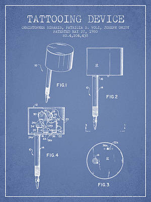 Tattooing Device Patent From 1980 - Light Blue Art Print