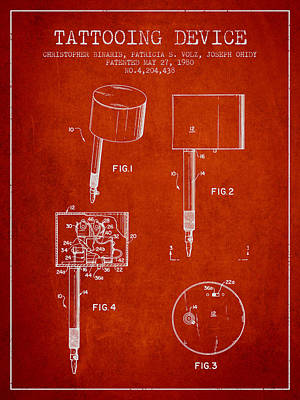 Pen Digital Art - Tattooing Device Patent From 1980 - Red by Aged Pixel