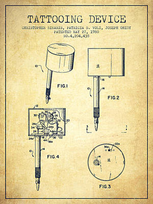Tattooing Device Patent From 1980 - Vintage Print by Aged Pixel