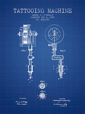Tattooing Machine Patent From 1891 - Blueprint Print by Aged Pixel