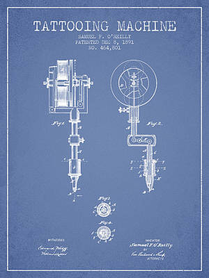 Pen Drawing - Tattooing Machine Patent From 1891 - Light Blue by Aged Pixel