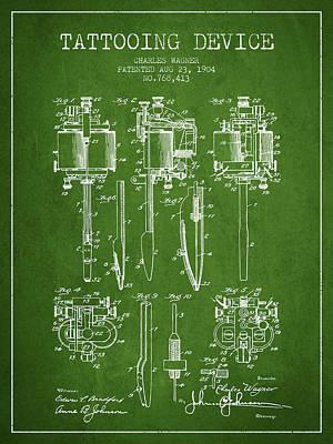 Tattooing Machine Patent From 1904 - Green Art Print
