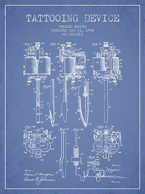 Tattooing Machine Patent From 1904 - Light Blue Print by Aged Pixel