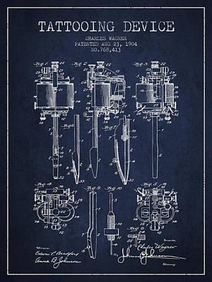 Tattooing Machine Patent From 1904 - Navy Blue Art Print