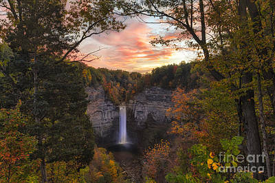 Green Lakes State Park Wall Art - Photograph - Taughannock Falls Autumn Sunset by Michele Steffey