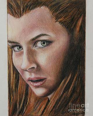 Drawing - Tauriel / Evangeline Lilly by Christine Jepsen