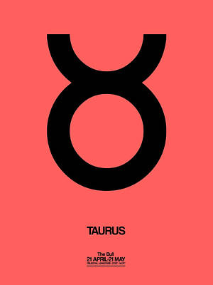 Signed Digital Art - Taurus Zodiac Sign Black  by Naxart Studio