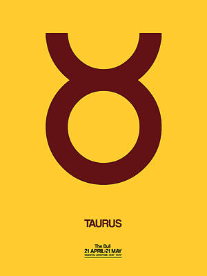 Signed Digital Art - Taurus Zodiac Sign Brown by Naxart Studio
