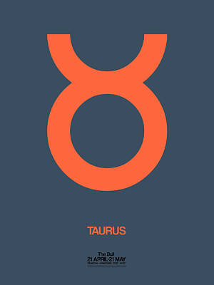 Signed Digital Art - Taurus Zodiac Sign Orange by Naxart Studio