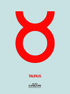 Gemini Digital Art - Taurus Zodiac Sign Red by Naxart Studio