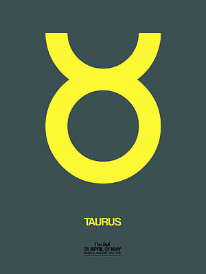 Signed Digital Art - Taurus Zodiac Sign Yellow by Naxart Studio