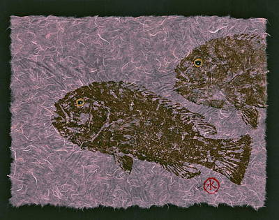 Tautog On Bubble Gum Unryu Paper Original by Jeffrey Canha