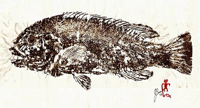 Tautog On Rice Paper Art Print