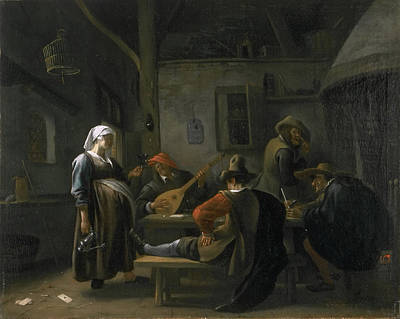 Painting - Tavern Scene With A Pregnant Hostess by Jan Steen