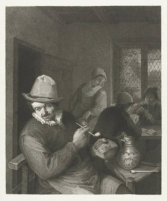 Tavern Scene With Man With A Pipe, Lambertus Antonius Art Print