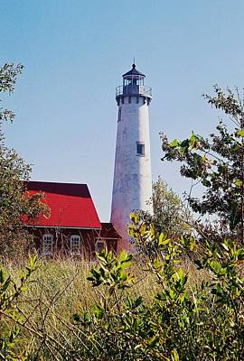 Tawas Point Lighthouse...from Tawas Bay Side Art Print by Daniel Thompson