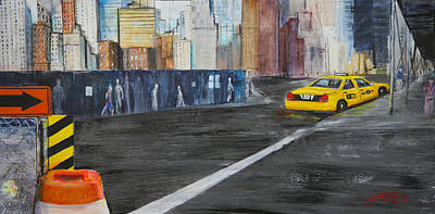 Taxi 9 Nyc Under Construction Art Print