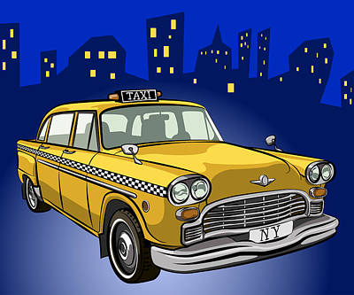 Car Mascot Digital Art - Taxi Cab by Volodymyr Horbovyy