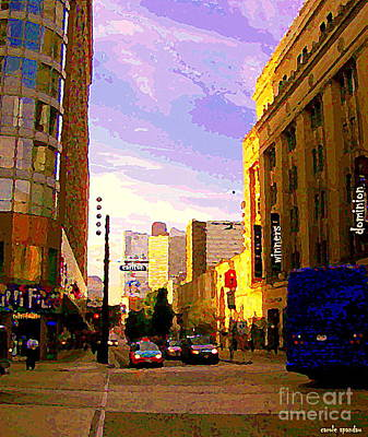 Painting - Taxi Cabs Drive By Carlton Ave Sunset Reflected On Downtown Toronto Buildings Canadian Art C Spandau by Carole Spandau