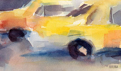 Taxi Cabs Nyc Watercolor Painting Print by Beverly Brown