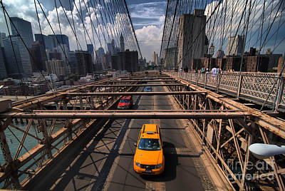 Taxi Crossing The Brooklyn Bridge Print by Amy Cicconi