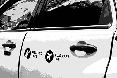 Photograph - Taxi Flat Fare J F K - Yellow Cab In Black And White by Miriam Danar
