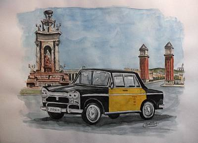 Taxi Art Print by Frederic Ballber