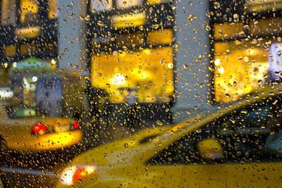 Taxi In Rain By Randy Duchaine  Art Print by Randy Duchaine
