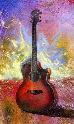 Acoustic Guitar Painting - Taylor by Andrew King