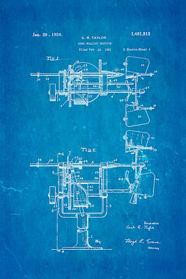 Taylor Cone Rolling Machine Patent Art 1921 Blueprint Art Print